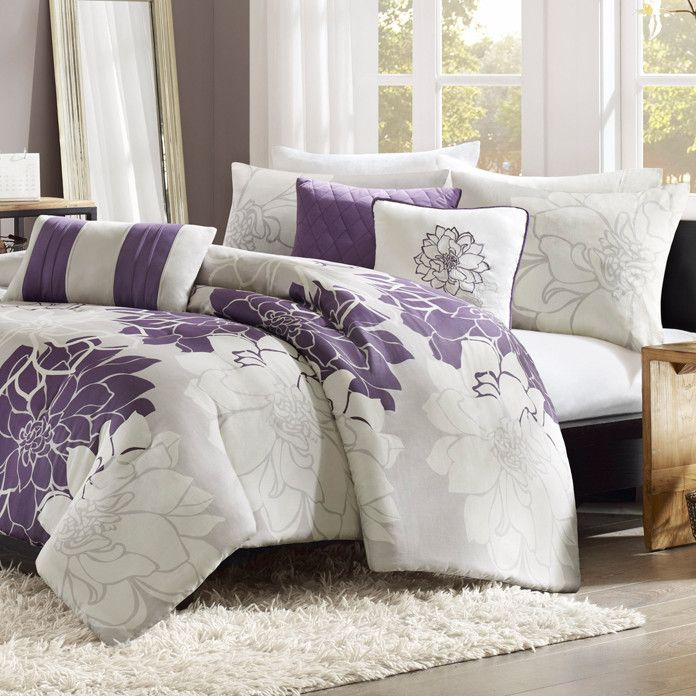 Purple And Grey Floral Duvet Set Queen And King Size