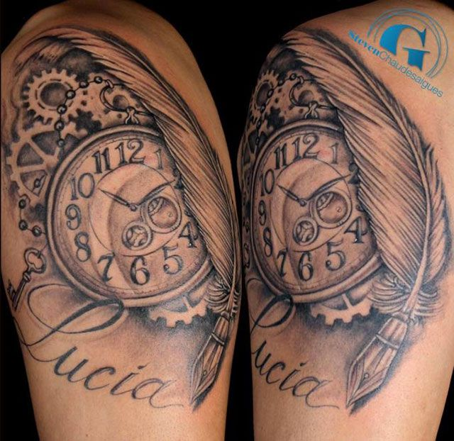 les 25 meilleures id es concernant tatouages horloge sur pinterest dessins de tatouage dessin. Black Bedroom Furniture Sets. Home Design Ideas