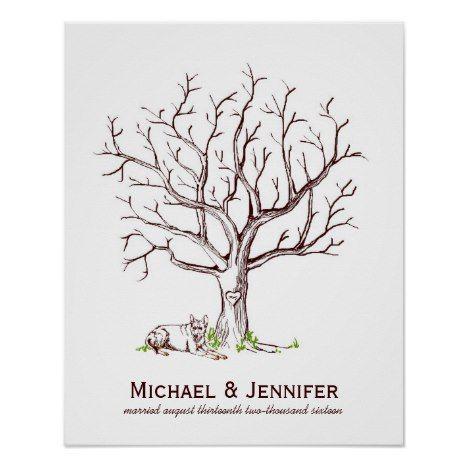 Wedding Fingerprint Tree Poster (Dog)