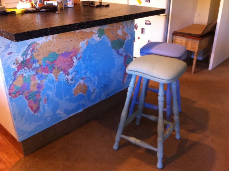 Map from the warehouse under the island and old stools done in chalk paint...