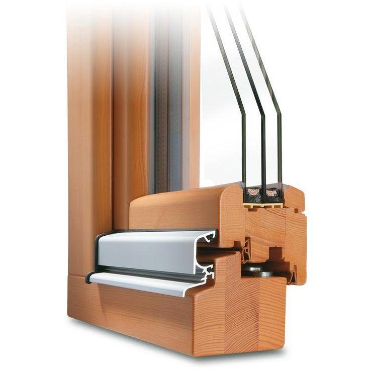 Holzfenster ROUNDLINE 78 Profilecke mit Regenschiene im Farbton Kiefer