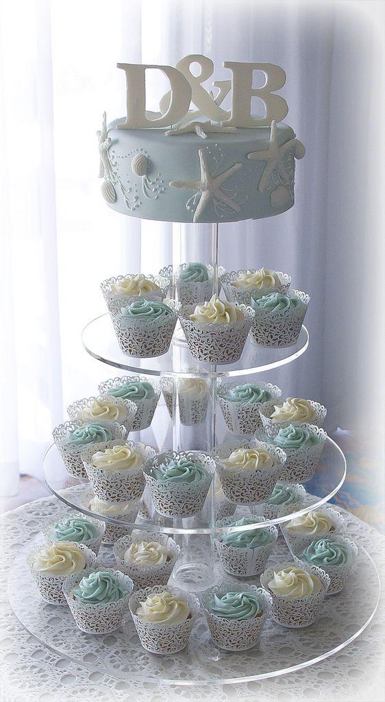 Sea Star Beach Theme Wedding Cake and Cupcake Tower | Flickr - Photo Sharing!