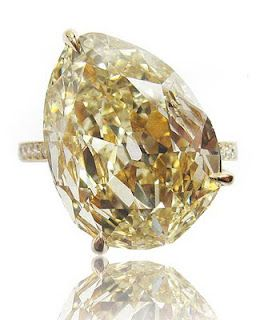 Antique pear-shaped yellow diamond ring from Paolo Costagli