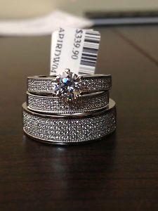 swarovski zarconia his her men women sterling silver trio set wedding ring cubic - Trio Wedding Ring Sets