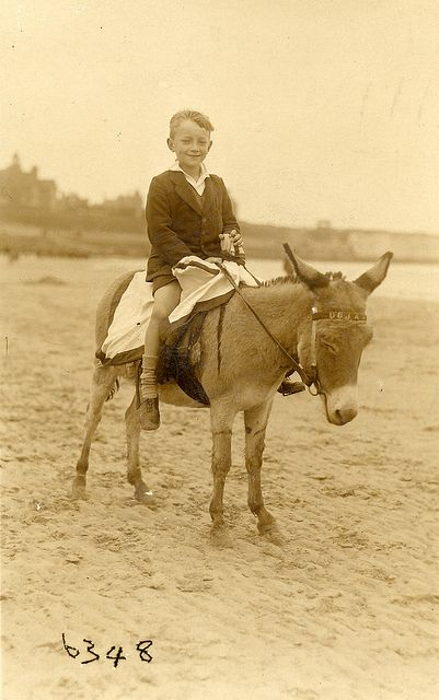 A donkey called Oojah. Found image. Joe, the lad on the donkey, wrote to Joyce to tell her its name. Vintage photo.     Courtesy: LovedayLemon. Norwich, England (UK).