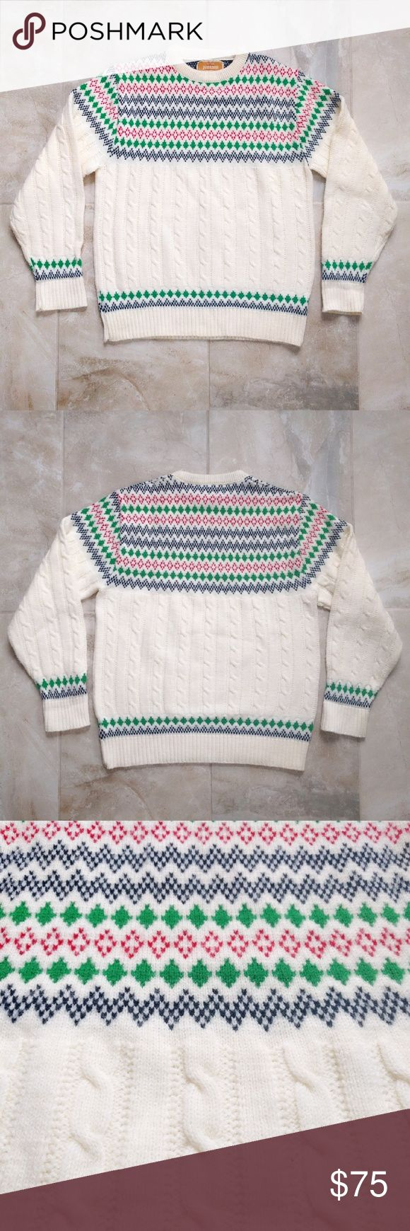 """VTG Men's Jantzen FAIR ISLE Nordic Ski Sweater L An amazingly modern vintage Jantzen intarsia acrylic crewneck sweater. Blue, red, and green diamond zigzag design. Very rare! Cable knit on main body. In near-mint vintage condition (9.999/10). No stains or wear. Comes from a smoke-free home.  SIZE: Men's Large (best for size 40). BUST: 40"""". SHOULDER: 16.5"""". SLEEVE: 24"""". LENGTH: 26"""". Jantzen Sweaters Crewneck"""