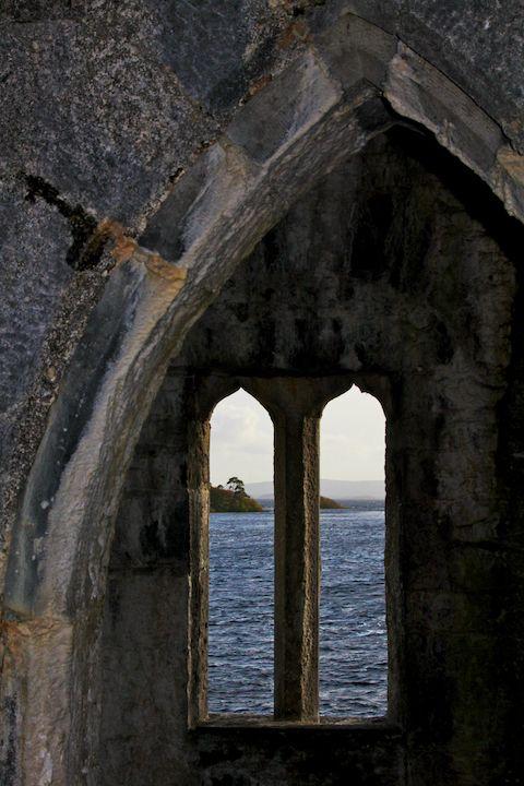 Lough Corrib through the watchtower at Ashford Castle - County Galway, Ireland