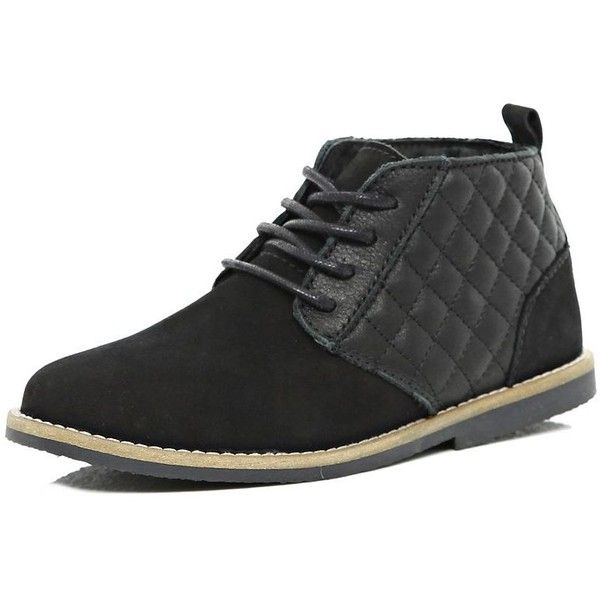 River Island Boys black leather quilted desert boots (64 BRL) ❤ liked on Polyvore featuring sale