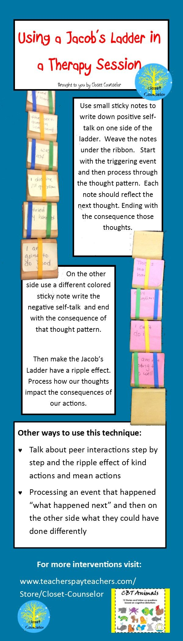 Using a Jacob's Ladder to talk about positive and negative self-talk; social skills or to process interactions with others (mean and kind behaviors).  Feel free to comment with your ideas of how to use a Jacob's Ladder in therapy session!