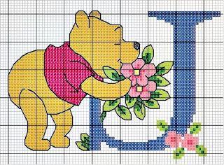 Abecedario De Winnie The Pooh: punto cruz