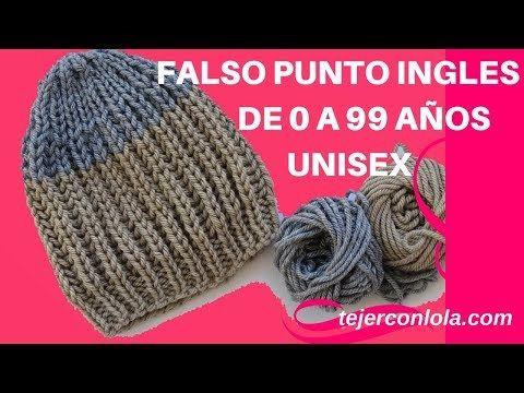 04c779bbc3aa GORRO BÁSICO DE 0 A 99 AÑOS, UNISEX , FALSO PUNTO INGLES - YouTube ...