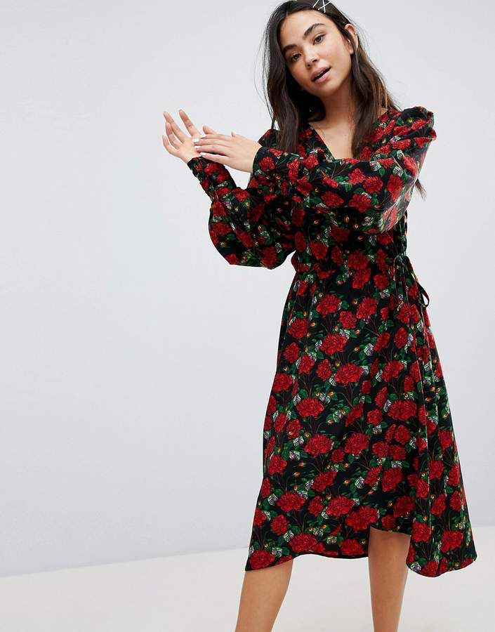 eb38eb9e63f Monki Floral Print Wrap Dress