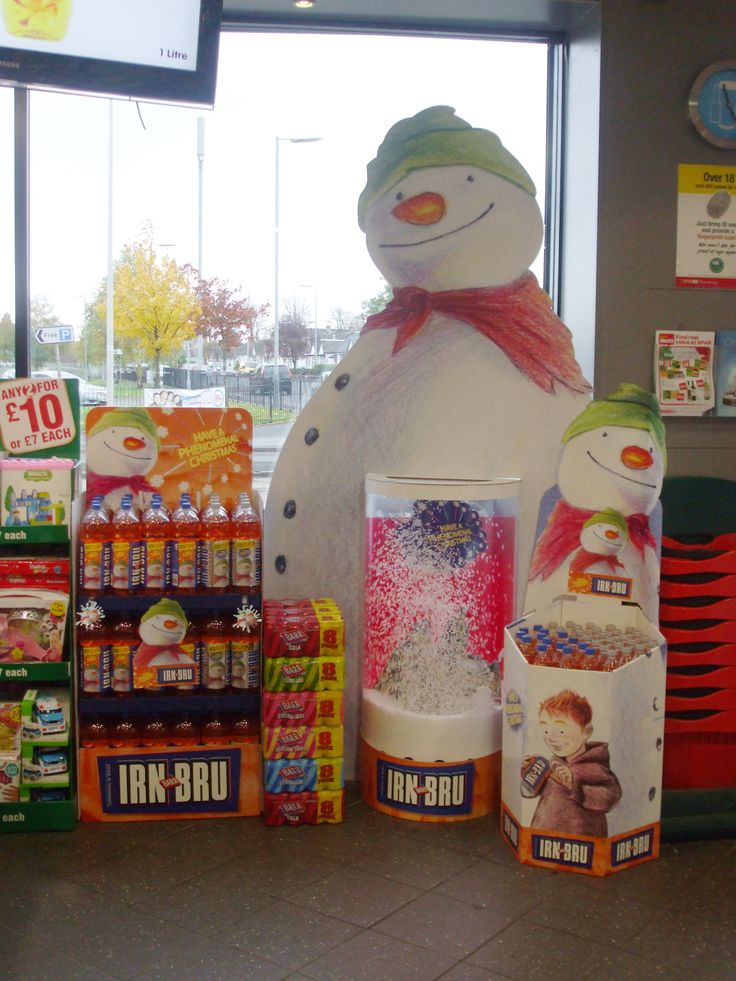 A festive point of sale display for IRN BRU, featuring The Snowman (and a working snowstorm!)