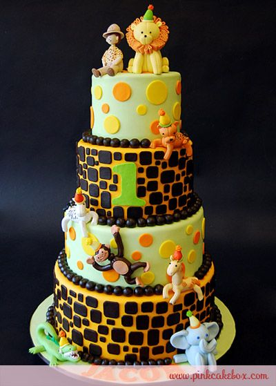 1st Birthday Jungle Party Cake by Pink Cake Box in Denville, NJ.  More photos and videos at http://blog.pinkcakebox.com/1st-birthday-jungle-party-cake-2010-05-23.htm