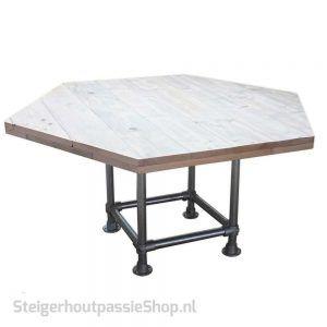 steigerhouten 6 hoekige tafel