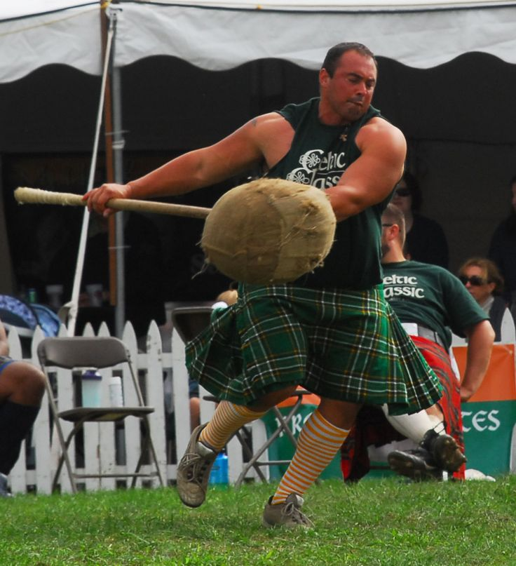 Athlete competing in the Sheaf toss in the Highland Games
