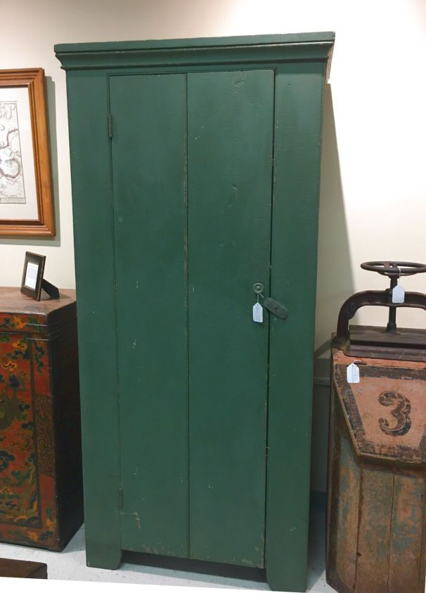 Antique Early country American jelly cupboard old green paint c 1800 New England | eBay