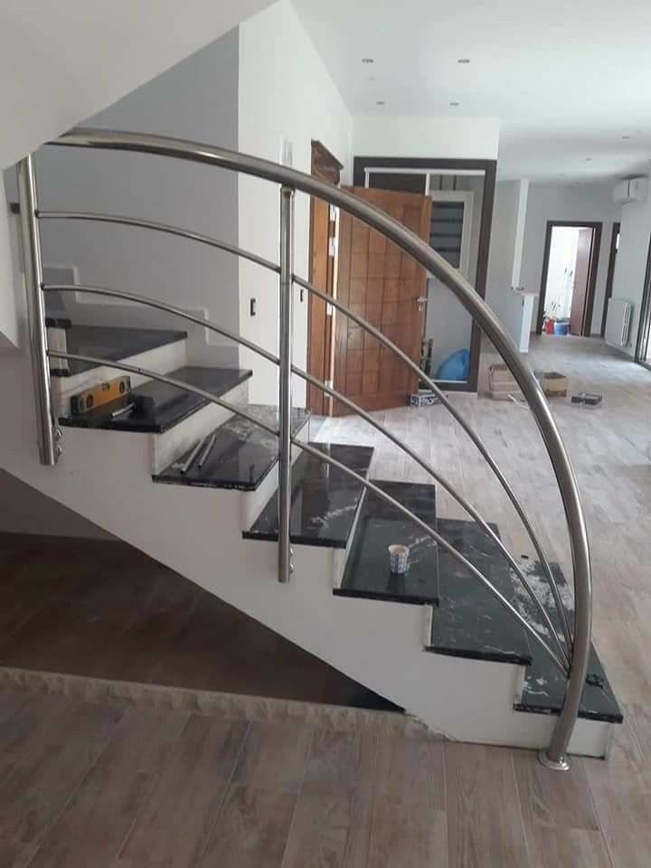 Pin By Gautam Tuladhar On Corrimão Inox Stair Railing Design   Stairs Railing Designs In Steel   Caramel   Glass   Iron Spindle Railing   Square   Solid Wood