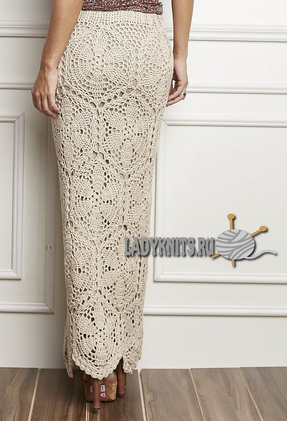 Вязаная крючком модная длинная юбка из мотивов