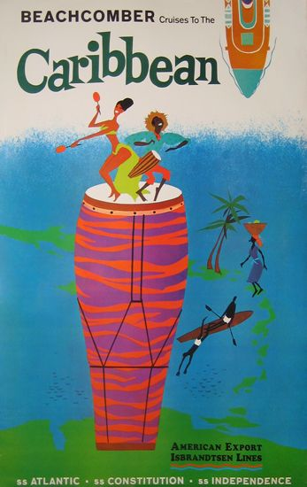 Caribbean, 1965, vintage travel poster