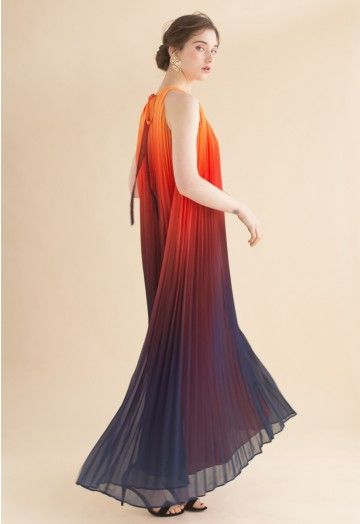 d68807b0d1 Splendor of the Sunset Gradient Pleated Maxi Dress - DRESS - Retro, Indie  and Unique Fashion