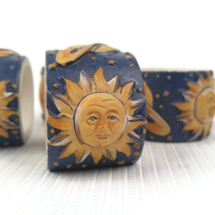 4 Celestial Moon Stars Planets Sun Saturn Napkin Rings Crafts Plastic Resin