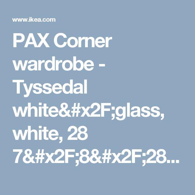 """PAX Corner wardrobe - Tyssedal white/glass, white, 28 7/8/28 7/8x79 1/4 """"  - IKEA"""