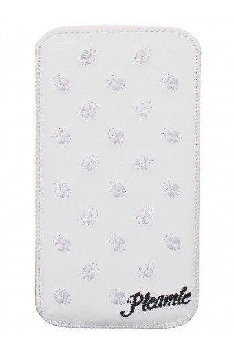 Pleamle iPhone 6 Hülle, Leder bestickt, Zugband, weiß (weiß)