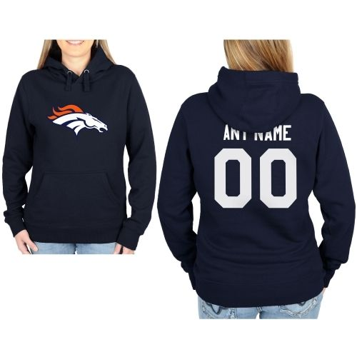 Denver Broncos Womens Custom Any Name & Number Hooded Sweatshirt