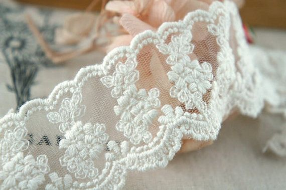 Gorgeous ivory lace fabric trim, perfect for wedding dresss accessories, bridal veil , wedding veil making, very stunning and elegant .    Width : 5cm cm / 1.96     Price is for 2 yards Shop directory :    https://www.etsy.com/shop/Retrolace?ref=si_shop