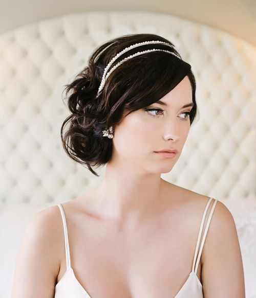 Wedding Hairstyle With Bangs: Bridal Hair Accessory With Complimentary Style: Chignon
