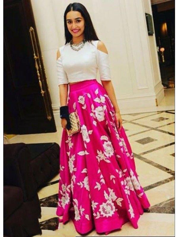 Pink Thread Work Silk Party Wear Lehenga Choli Designer