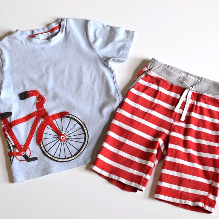 ends Apr 14, 2014 18:00:04 PDT Mini Boden boy's red jersey baggies size 5/Janie & Jack applique t-shirt size 5