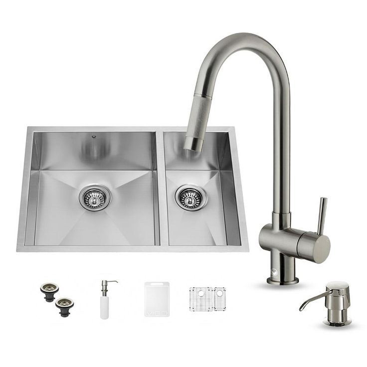 All-in-One Undermount Stainless Steel (Silver) 29 in. Double Bowl Kitchen Sink in Stainless Steel