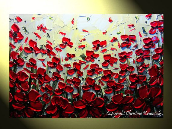 Red Flowers Painting Original Art Abstract Red Poppies, Textured Palette Knife, Home Decor, by Christine Krainock