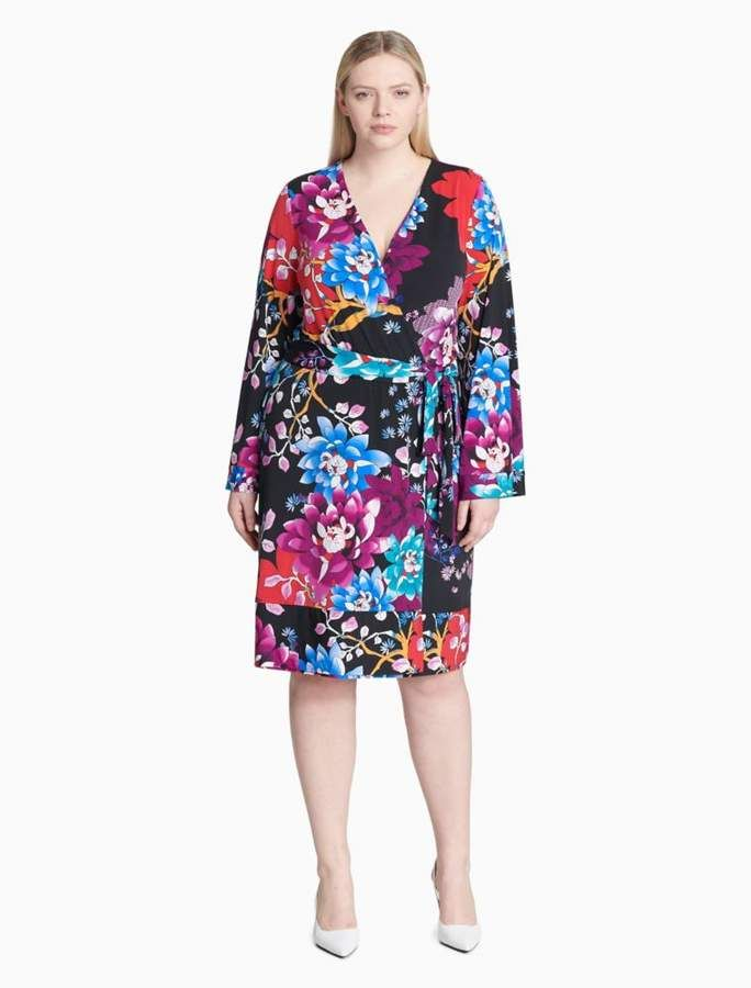 Plus Size Printed Floral Sleeveless Dress Products Dresses V