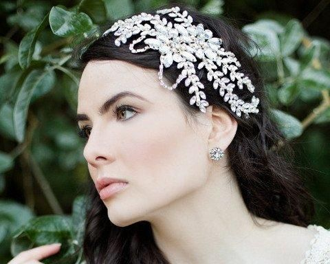 Vintage Side Headpieces - Statement Wedding Headpiece, Marquise Crystals, Dahlia-P
