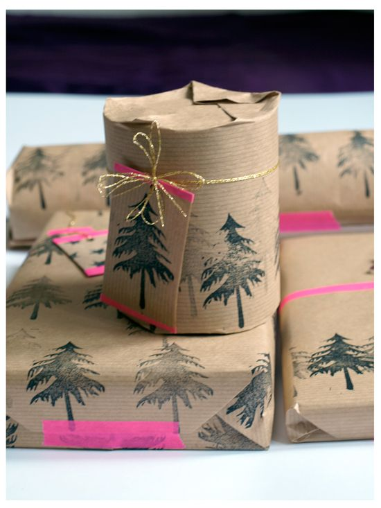 Brown paper and Christmas tree gift wrap.