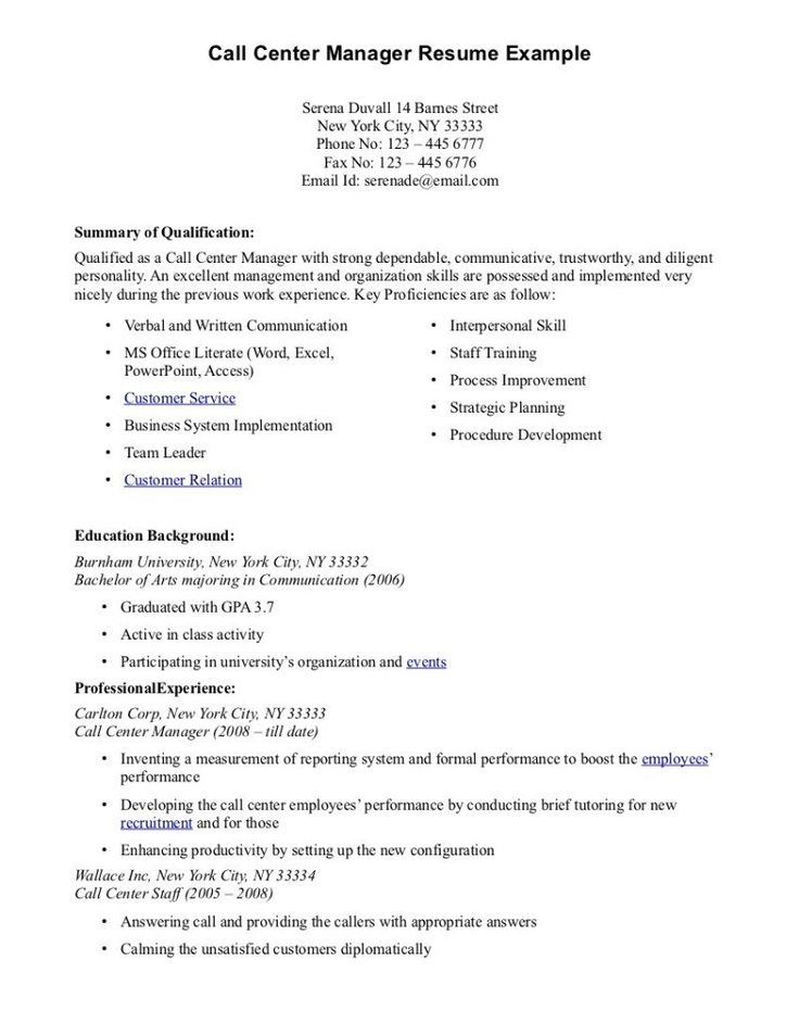 resume example bachelor nursing objectives career guide writing - call center manager resume