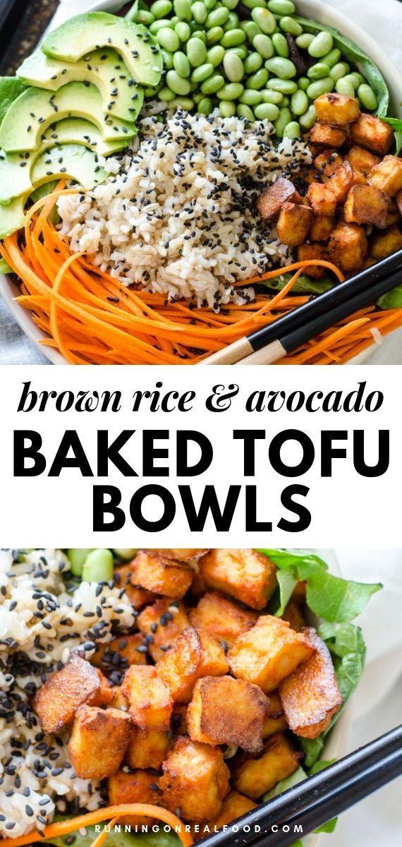 Sriracha Baked Tofu Rice Bowls Recipe Vegetarian Rice Bowl Recipe Brown Rice Bowl Recipe Rice Bowls Recipes