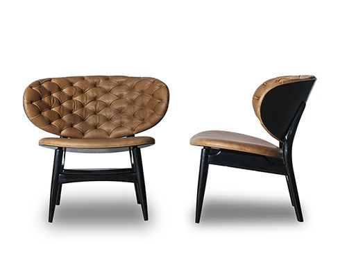 "Occasional chair with structure in glossy black stained beech wood or walnut wood, seat and back in leather.  Fabric:   Manufacturer leather only (no COM or COL option available) Dimensions:  31"" x 27"" x 28""H Material:   Beech wood or walnut wood/Leather. Finish:   Glossy black beech wood or natural walnut wood. Please contact Avondale Design Studio for more information about any of the products we feature on Pinterest."