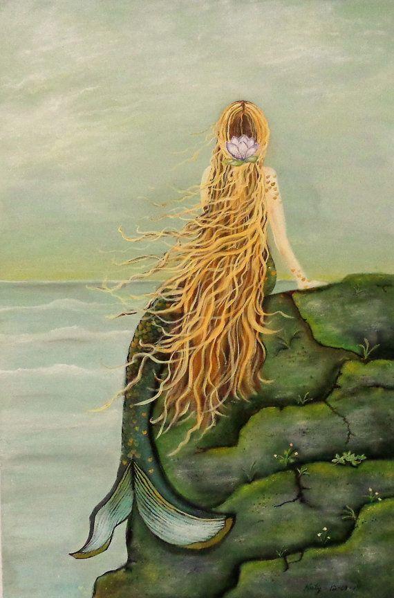 Zeemeermin Art Canvas Wrap nautische Decor zeemeermin badkamer