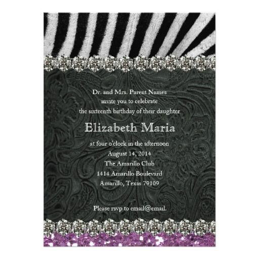 221 best zebra sweet 16 gifts images on pinterest | zebras, sweet, Birthday invitations