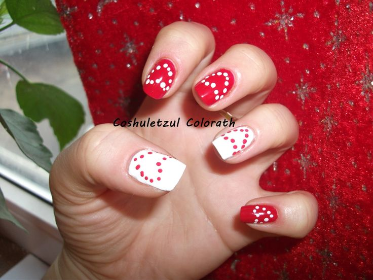 valentine's day nails, heart, red and white nails, dots