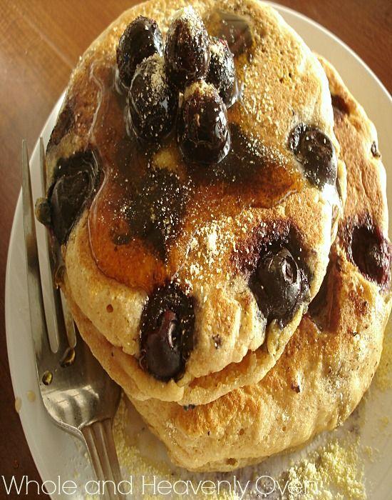 Blueberry Cornmeal Pancakes--- Blueberry pancakes get a fun makeover ...