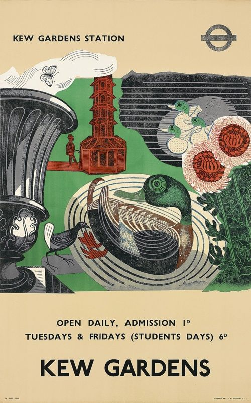 Edward Bawden 1936 Vintage London transport poster Kew Gardens