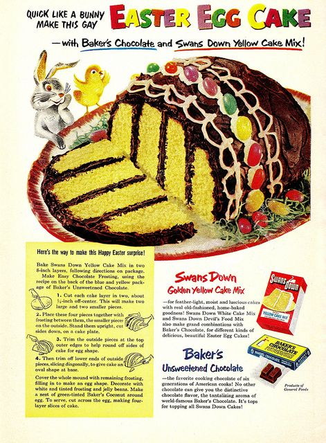 Swan's Down Easter Egg Cake  1950s: Cakes Mixed, Easter Cakes, Vintage Recipes, Vintage Easter, Cakes Recipes, Retro Food, Easter Eggs Cakes, Easter Cupcakes, Yellow Cakes
