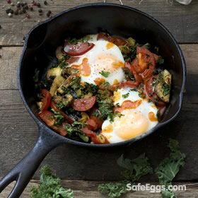 Baked Eggs with Kale, Mushrooms and Tomato recipe - a great vegetarian option!