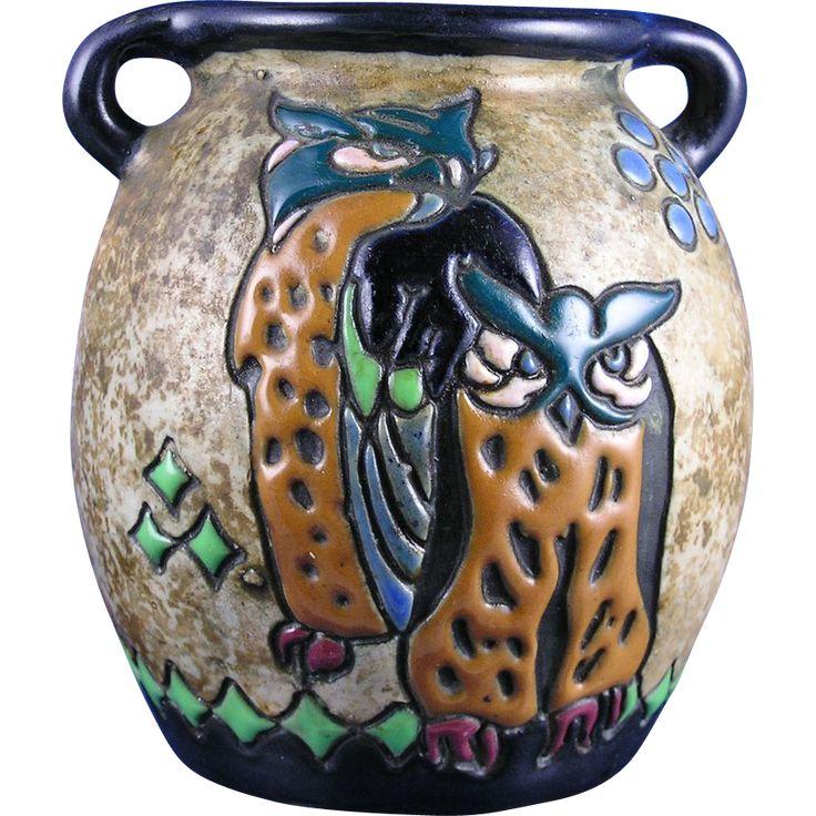 """Amphora Austria Arts & Crafts """"Campina"""" Owl Design Vase (c.1905-1910)"""