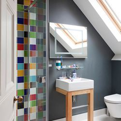 Bold and beautiful coloured tiles.  To complement this new palette of richer colours look for an enclosure that embodies the beauty of the environment it's placed in.